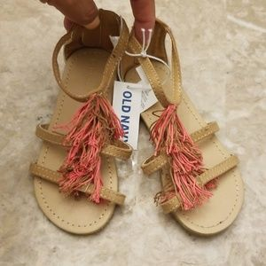 Old Navy Tan and Pink Tassle Gladiator Sandals